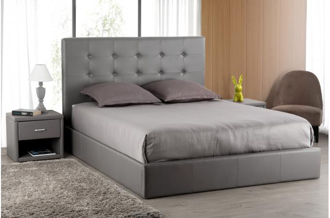 t te de lit capitonn e gris 140x190 orlena design sur. Black Bedroom Furniture Sets. Home Design Ideas