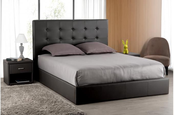 t te de lit capitonn e noire 180x200 orlena design sur sofactory. Black Bedroom Furniture Sets. Home Design Ideas
