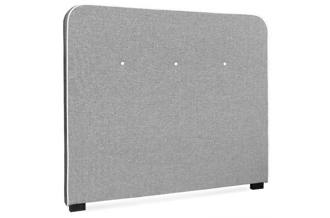 t te de lit scandinave 140cm tissu gris blanc gislev. Black Bedroom Furniture Sets. Home Design Ideas