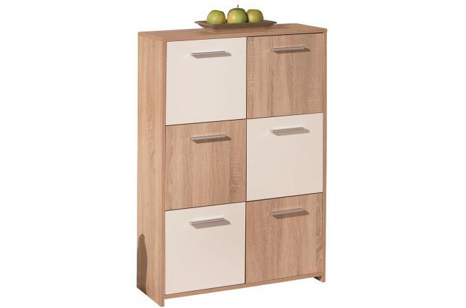 Bahut de 6 casiers de rangement en bois 77 x 30 cm blanc - Casiers de rangement en bois ...
