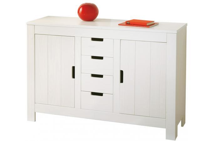 commode 4 tiroirs et 2 portes en pin 90 x 43 cm bertram design sur sofactory. Black Bedroom Furniture Sets. Home Design Ideas
