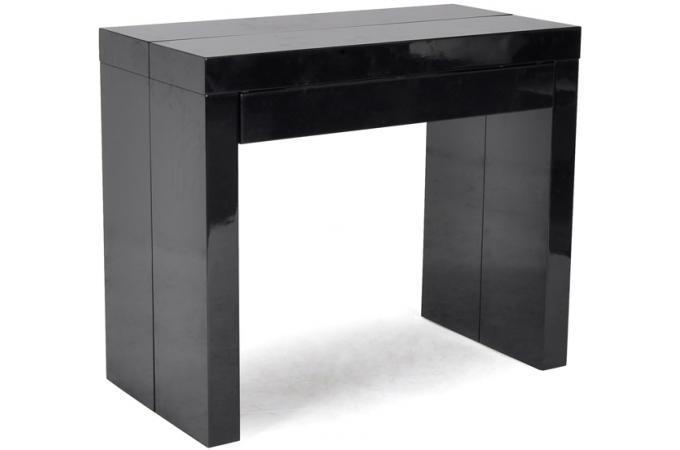 Console extensible 3 allonges 1 tiroir 180 cm laqu e noire miranda design p - Console extensible laquee noire ...