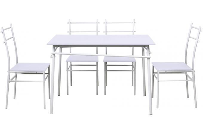 ensemble de table manger et 4 chaises en acier blanc aki design en direct de l 39 usine sur sofactory. Black Bedroom Furniture Sets. Home Design Ideas