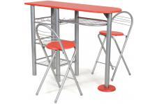 Ensemble table et 2 chaises rouge en Acier-MDF Rouge ALBA