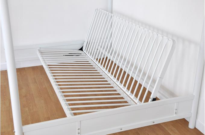 Lit mezzanine 140x190 en acier blanc mischa design pas cher sur sofactory - Mezzanine avec canape ...