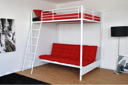 Lit mezzanine 140x190 en acier blanc mischa design pas cher sur sofactory - Lit mezzanine 140x190 ...