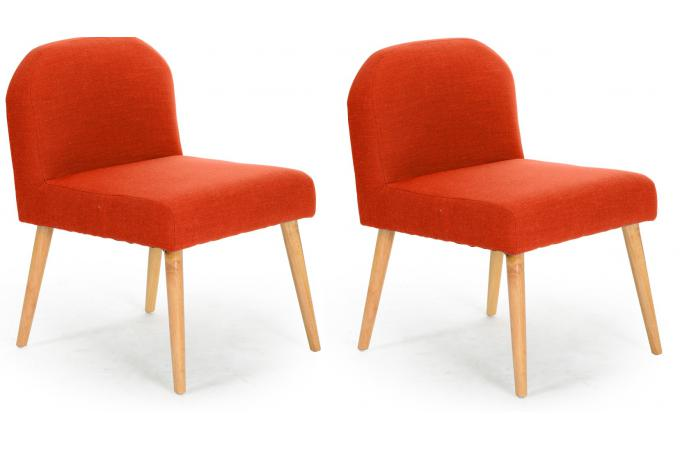 Lot de 2 fauteuils en bois orange naturel MANS
