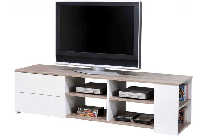 meuble tv en bois blanc et naturel leader design sur sofactory. Black Bedroom Furniture Sets. Home Design Ideas