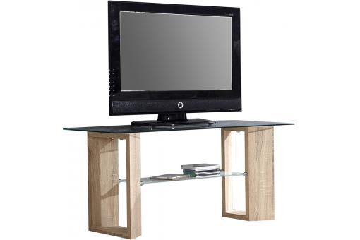 Meuble tv en imitation bois marron avec plateau en verre for Imitation meuble design