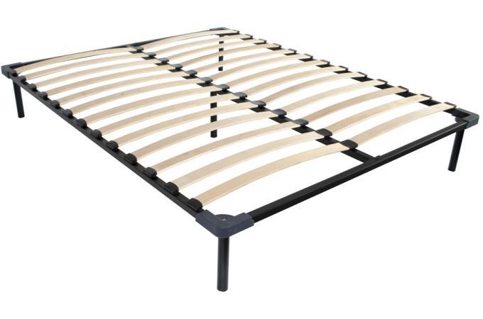 sommier lattes 140x190 en acier noir pi tement malt. Black Bedroom Furniture Sets. Home Design Ideas