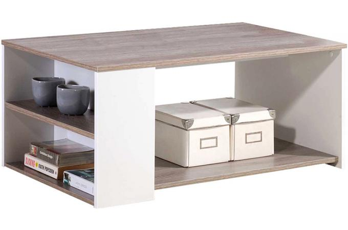 Table basse en bois blanc et naturel leader design sur - Table basse bois blanc ...