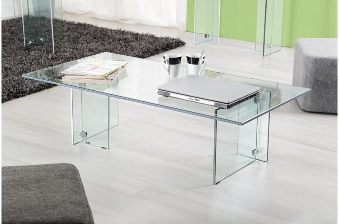 Table basse en verre snow design pas cher sur sofactory - Table basse rectangulaire en verre ...