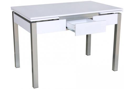 table en acier blanche et grise extensible york design pas cher sur sofactory. Black Bedroom Furniture Sets. Home Design Ideas