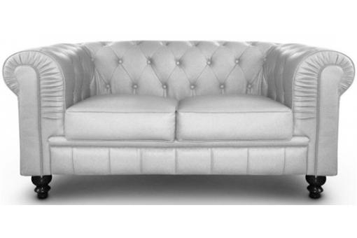 Canapé Chesterfield 2 Places Argent SILVER