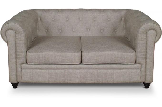 Canapé 2 places Chesterfield effet Lin Beige SUGAR SoFactory