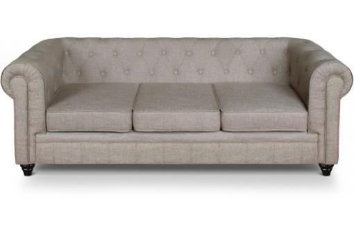 Canape 3 places Chesterfield effet Lin Beige SUGAR SoFactory