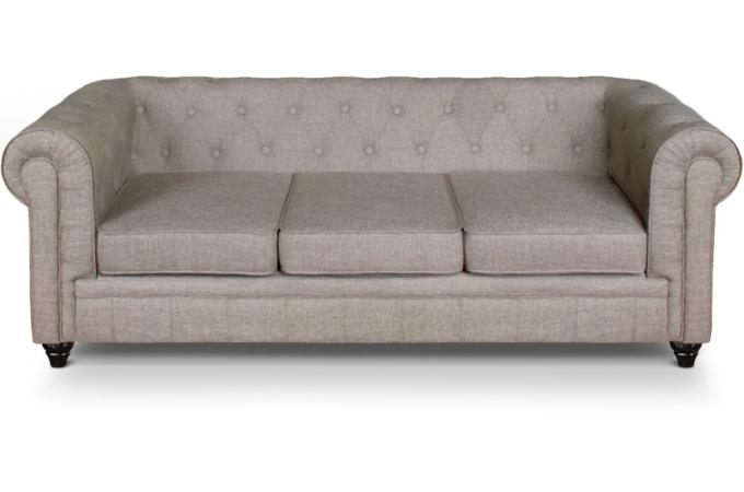 Canape 3 places Chesterfield effet Lin Beige SUGAR