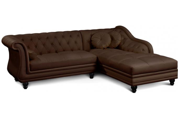 Canap d 39 angle marron style chesterfield victoria design for Canape d angle chesterfield