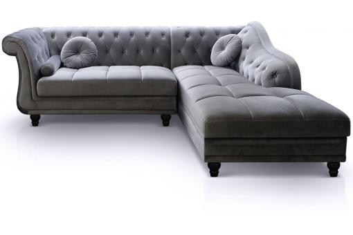 Canapé d'angle Velours Argent style Chesterfield VICTORIA