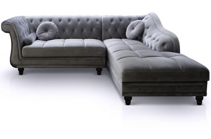Canap d 39 angle velours argent style chesterfield victoria for Canape original design