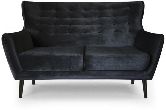 Canap scandinave 2 places velours noir montana design pas cher sur sofactory - Canape velours design ...