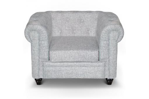 Fauteuil Chesterfield effet Lin Gris Clair SUGAR SoFactory