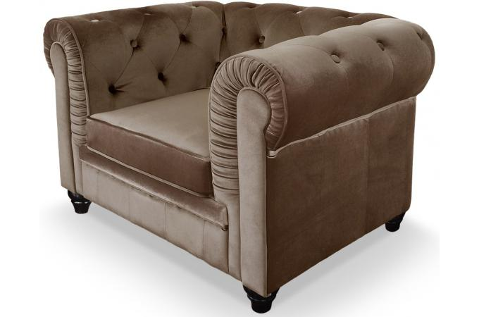 Fauteuil chesterfield velours taupe color design pas cher sur sofactory - Fauteuil chesterfield velours ...