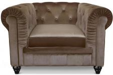 Fauteuil Chesterfield velours Taupe COLOR