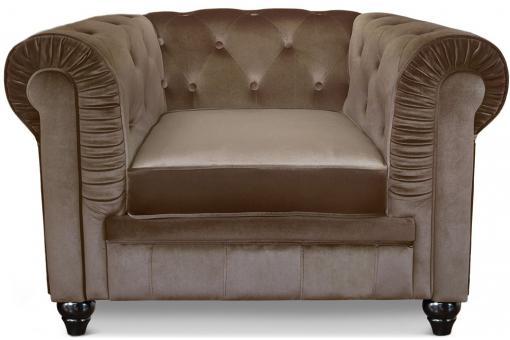 fauteuil chesterfield velours taupe color design sur sofactory. Black Bedroom Furniture Sets. Home Design Ideas