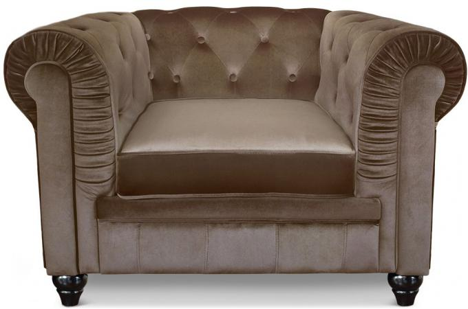 fauteuil chesterfield velours taupe color design sur sofactory. Black Bedroom Furniture Sets. Home Design Ideas