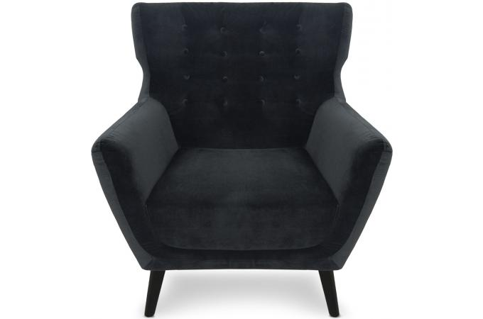 fauteuil scandinave velours noir montana design sur sofactory. Black Bedroom Furniture Sets. Home Design Ideas