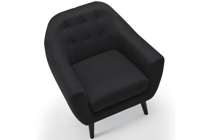 fauteuil scandinave tissu gris noir antonio design sur sofactory. Black Bedroom Furniture Sets. Home Design Ideas