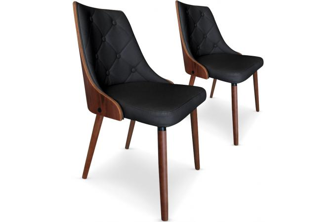 lot de 2 chaises scandinaves bois noisette noir rico design pas cher sur sofactory. Black Bedroom Furniture Sets. Home Design Ideas
