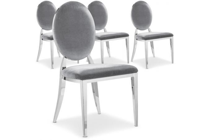 lot de 4 chaises velours argent paula design pas cher sur sofactory - Chaises Pas Cheres