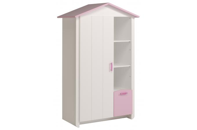 Armoire en imitation bois rose et blanche 1 porte magellan design pas cher su - Armoire blanche 1 porte ...