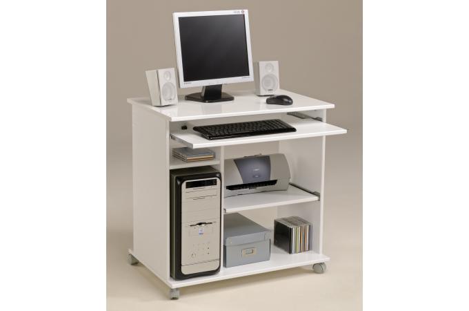 Bureau d ordinateur pop blanc megeve avec top glossy design sur