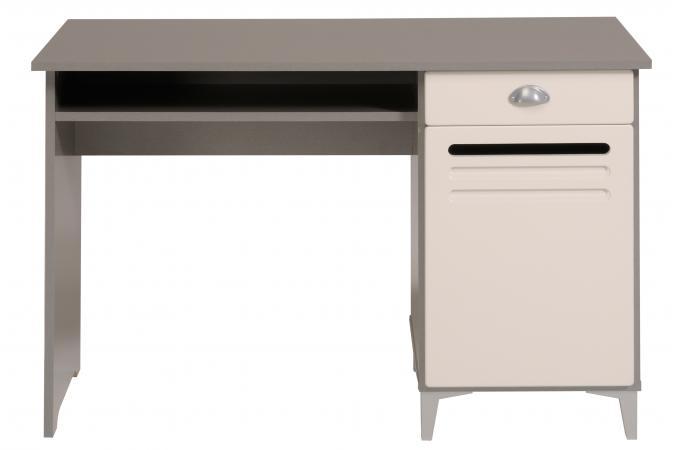 Bureau en m tal et imitation bois bicolore evo design pas - Bureau gris et blanc ...