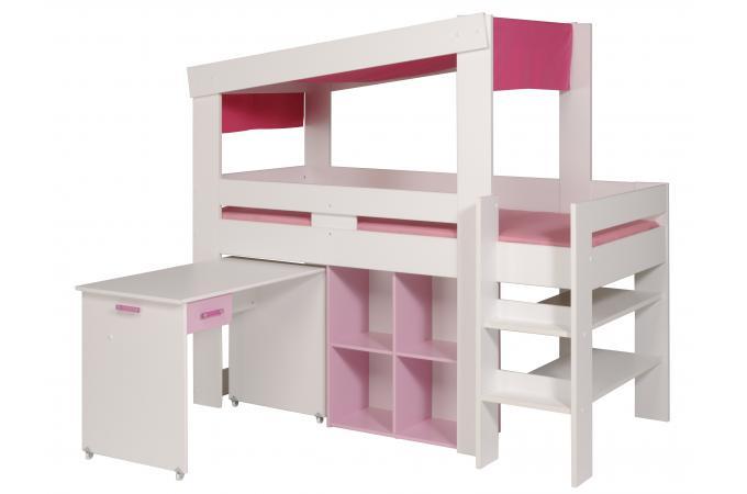 Lit mezzanine en imitation bois rose et blanc bureau magellan design pas ch - Lit mezzanine et bureau ...