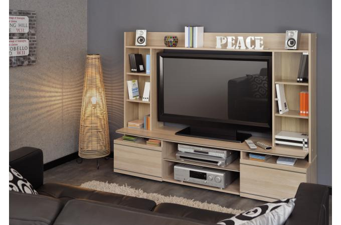 Meuble tv en imitation bois beige tag re jordy design for Meuble etagere tv