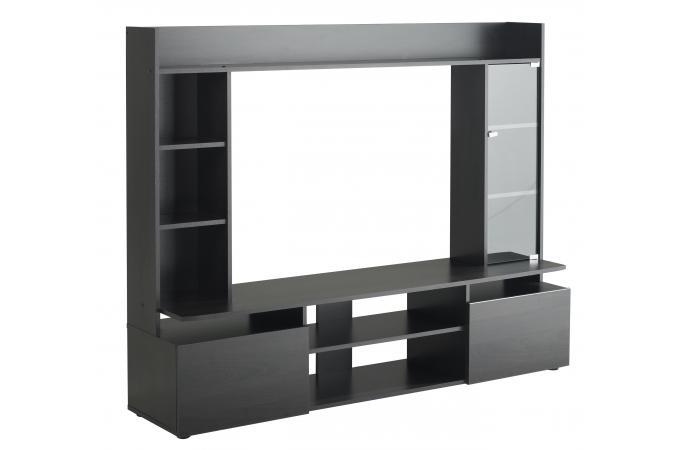 Meuble tv en imitation bois noir tag re jordy design for Imitation meuble design