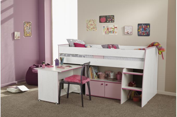 lit mezzanine en imitation bois bicolore bureau et armoire nina design pas cher sur sofactory. Black Bedroom Furniture Sets. Home Design Ideas