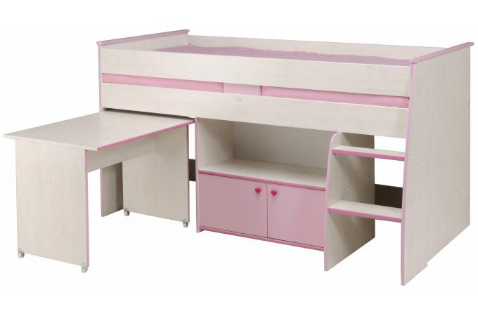 Lit mezzanine en imitation bois bicolore bureau et - Lit mezzanine avec bureau pas cher ...