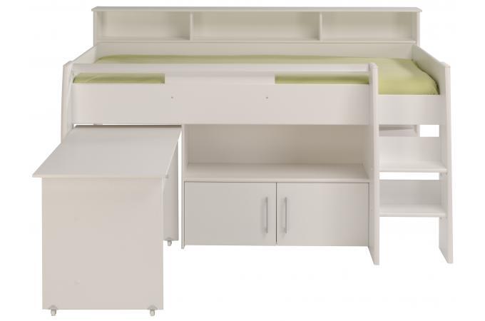 lit mezzanine en imitation bois blanc bureau et armoire leon design sur sofactory. Black Bedroom Furniture Sets. Home Design Ideas