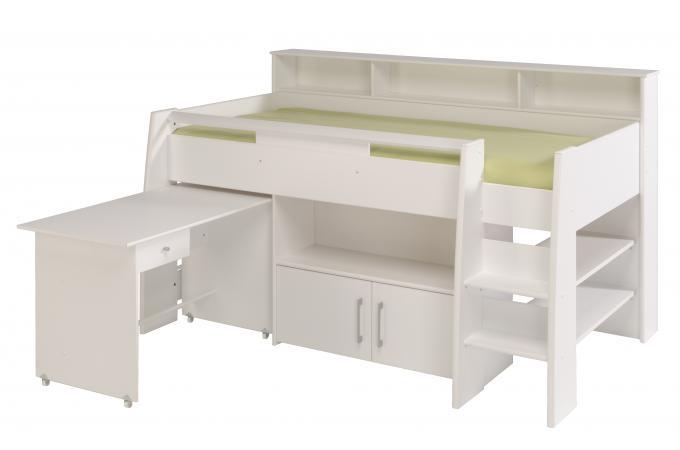 Lit mezzanine en imitation bois blanc bureau et armoire leon