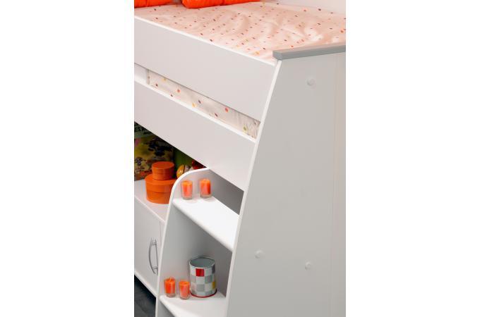 Lit mezzanine en panneau de particules blanc combin avec - Lit mezzanine avec bureau pas cher ...