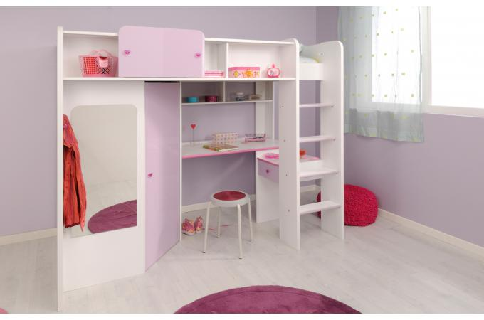 Lit mezzanine en imitation bois blanc et rose bureau et - Lit mezzanine armoire bureau ...