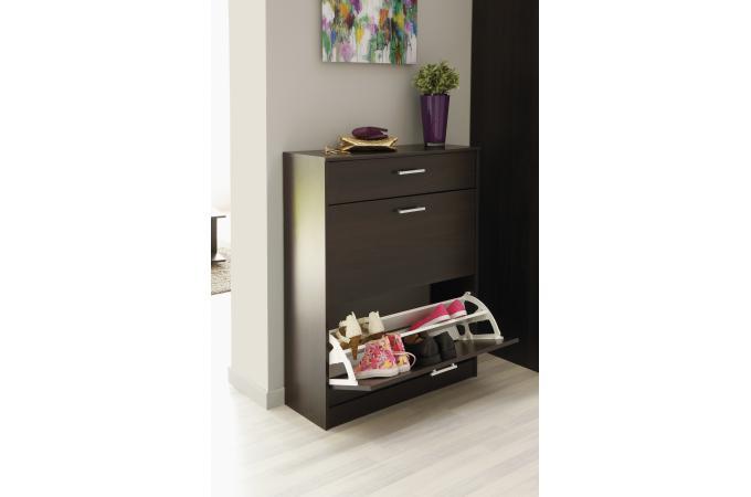 meuble à chaussure en panneau de particules marron à 2 ... - Meuble A Chaussure Design Pas Cher