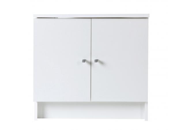 Meuble sous vasque en imitation bois blanc 2 portes for Meuble salle de bain deux portes