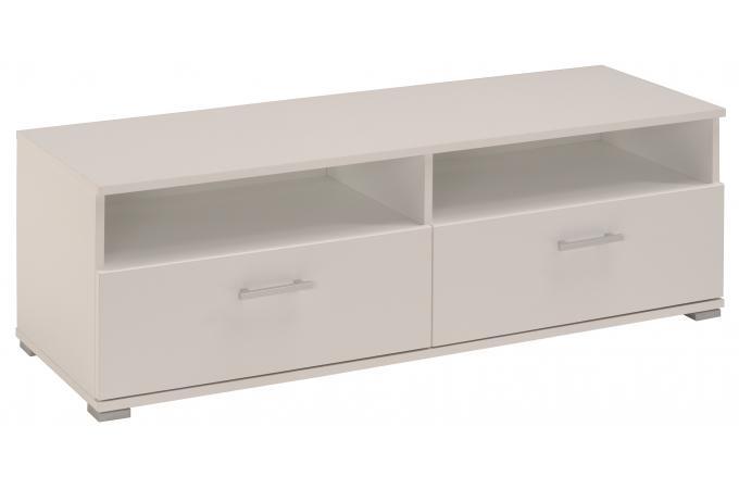 Meuble tv en imitation bois blanc 2 tiroirs gamble design for Meuble design imitation