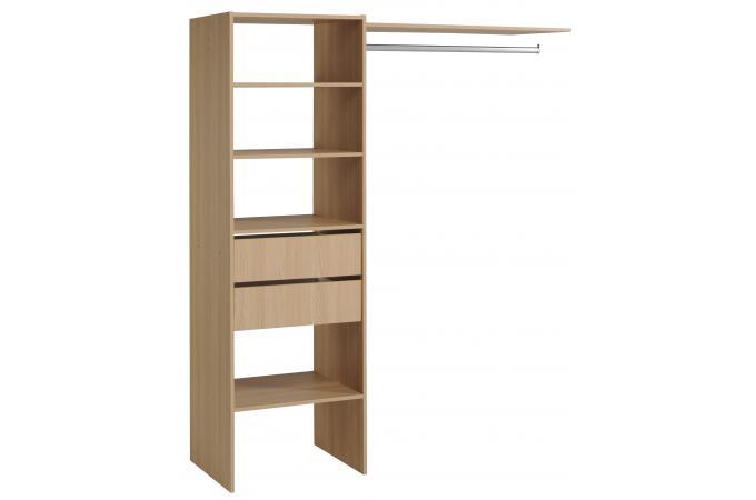 penderie avec tag re et 2 tiroirs de rangement couleur bois melissa design sur sofactory. Black Bedroom Furniture Sets. Home Design Ideas
